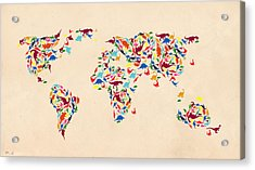 Dinosaur Map Of The World  Acrylic Print by Mark Ashkenazi