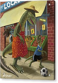 Dinosaur Mum Out Shopping With Son Acrylic Print by Martin Davey