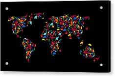 Dinosaurs Map Of The World   Acrylic Print by Mark Ashkenazi