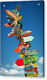 Directions Signs Acrylic Print by Carlos Caetano