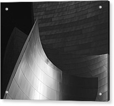 Disney Hall Abstract Black And White Acrylic Print by Rona Black