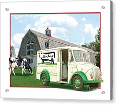 1950s Portraits Acrylic Print featuring the digital art Divco Delivery Truck by Dan Knowler