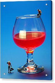 Diving In Red Wine Little People Big Worlds Acrylic Print by Paul Ge