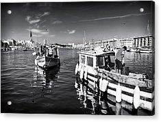Docking At The Market Acrylic Print by John Rizzuto
