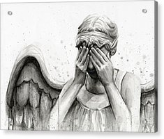 Doctor Who Weeping Angel Don't Blink Acrylic Print by Olga Shvartsur