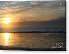 Dog And Man On The Beach Acrylic Print by Ian Donley