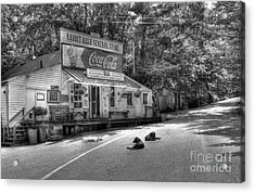Dog Day Afternoon Bw Acrylic Print by Mel Steinhauer