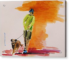 Dog Walker Acrylic Print by John  Williams