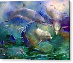 Dolphin Dream Acrylic Print by Carol Cavalaris