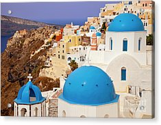 Domes Of Santorini Acrylic Print by Brian Jannsen