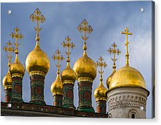 Domes Of The Church Of The Nativity Of Moscow Kremlin - Featured 3 Acrylic Print by Alexander Senin