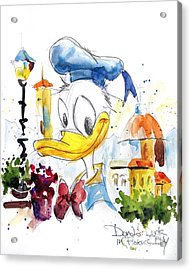 Donald Duck In Florence Italy Acrylic Print by Andrew Fling