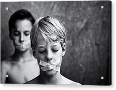 Don't Look, Don't Speak Acrylic Print by Mirjam Delrue