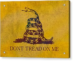 Don't Tread On Me Gadsden Flag Patriotic Emblem On Worn Distressed Yellowed Parchment Acrylic Print by Design Turnpike