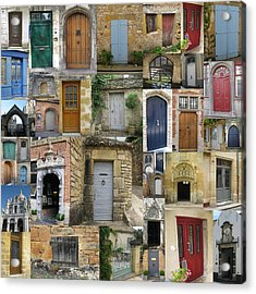 Doors Collage Acrylic Print by Cathy Jacobs
