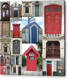 doors in New Zealand Acrylic Print by Cathy Jacobs