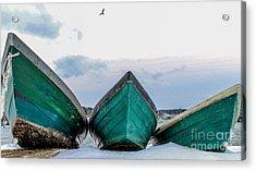 Dories And The Sea Gull Acrylic Print by Joe Faragalli