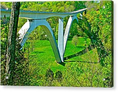 Double-arched Bridge Spanning Birdsong Hollow At Mile 438 Of Natchez Trace Parkway-tennessee Acrylic Print by Ruth Hager