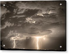 Double Lightning Strikes In Sepia Hdr Acrylic Print by James BO  Insogna