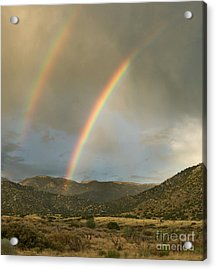 Double Rainbow In Desert Acrylic Print by Matt Tilghman
