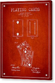 Dougherty Playing Cards Patent Drawing From 1876 - Red Acrylic Print by Aged Pixel