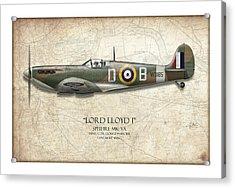 Douglas Bader Spitfire - Map Background Acrylic Print by Craig Tinder