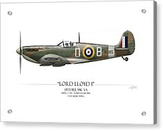 Douglas Bader Spitfire - White Background Acrylic Print by Craig Tinder