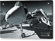 Douglas Skyhawk A-4b - Black And White Acrylic Print by Gregory Dyer
