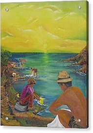 Van Dyke Brown Acrylic Print featuring the painting Down By The River by Barbara Hayes