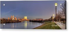 Downtown Indianapolis From White River Acrylic Print by Twenty Two North Photography