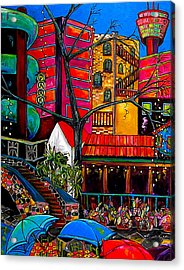 Downtown On The River Acrylic Print by Patti Schermerhorn