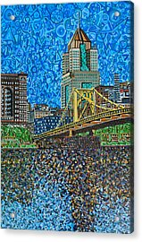 Downtown Pittsburgh - Roberto Clemente Bridge Acrylic Print by Micah Mullen