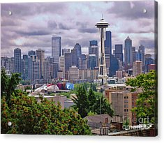 Downtown Seattle From Kerry Park Acrylic Print by Allen Beatty