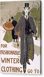 Draft Poster Design For A Winter Clothing Company Acrylic Print by Louis John Rhead