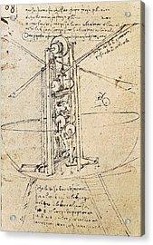 Drawing By Leonardo Da Vinci.. Flying Acrylic Print by Everett