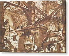Drawing Of An Imaginary Prison Acrylic Print by Giovanni Battista Piranesi
