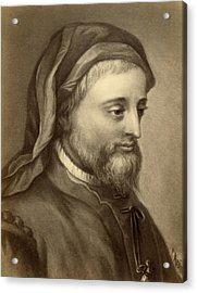 Drawing Of Geoffrey Chaucer Acrylic Print by Underwood Archives