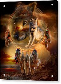 Dream Catcher - Wolfland Acrylic Print by Carol Cavalaris