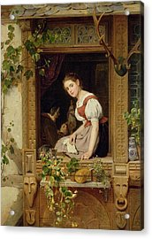 Dreaming On The Windowsill Acrylic Print by August Friedrich Siegert