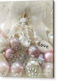 Dreamy Angel Christmas Holiday Shabby Chic Love Print - Holiday Angel Art Romantic Holiday Ornaments Acrylic Print by Kathy Fornal