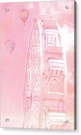 Dreamy Baby Pink Ferris Wheel Carnival Art With Hot Air Balloons Acrylic Print by Kathy Fornal