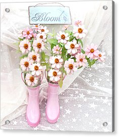Dreamy Cottage Garden Art - Shabby Chic Pink Flowers Garden Bloom With Pink Rain Boots Acrylic Print by Kathy Fornal