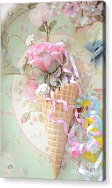 Dreamy Cottage Shabby Chic Romantic Floral Art With Waffle Cone And Party Ribbons Acrylic Print by Kathy Fornal