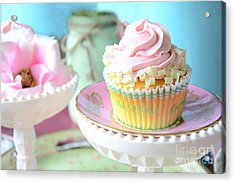 Dreamy Shabby Chic Cupcake Vintage Romantic Food And Floral Photography - Pink Teal Aqua Blue  Acrylic Print by Kathy Fornal