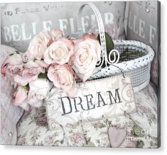 Dreamy Shabby Chic Romantic Cottage Chic Roses In White Basket  Acrylic Print by Kathy Fornal