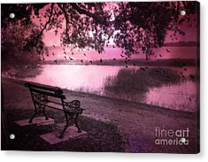 Dreamy Surreal Beaufort South Carolina Lake And Bench Scene Acrylic Print by Kathy Fornal