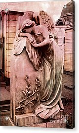 Dreamy Surreal Beautiful Angel Art Photograph - Angel Mourning Weeping At Gravestone  Acrylic Print by Kathy Fornal