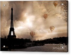 Dreamy Surreal Eiffel Tower Hot Air Balloons Sepia Acrylic Print by Kathy Fornal
