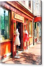 Dress Shop Fells Point Md Acrylic Print by Susan Savad