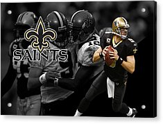 Drew Brees Saints Acrylic Print by Joe Hamilton